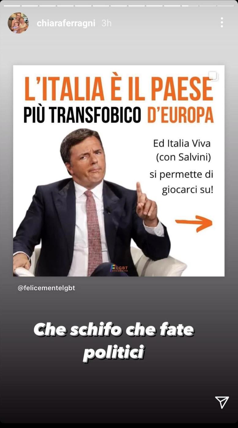 Renzi ferragni polemica